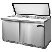 Continental Refrigerator SW60-24M-HGL-FB 60 inch Mighty Top Front Breathing Sandwich / Salad Prep Refrigerator with Hinged Glass Lid