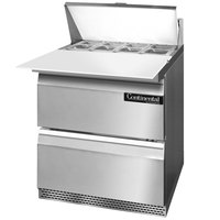 Continental Refrigerator SW27-8C-FB-D 27 inch Front Breathing Cutting Top Sandwich / Salad Prep Refrigerator with Two Drawers