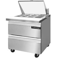 Continental Refrigerator SW32-12M-D 32 inch Mighty Top Sandwich / Salad Prep Refrigerator with Two Drawers