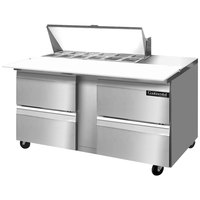 Continental Refrigerator SW60-12C-D 60 inch Cutting Top Sandwich / Salad Prep Refrigerator with Four Drawers