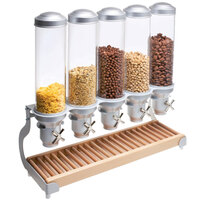 Cal-Mil 3515-5-98 Beechwood Turn and Serve 5 Bin Cereal Dispenser - 27 inch x 11 inch x 28 inch