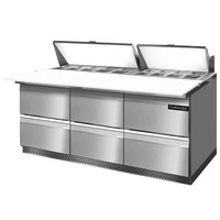 Continental Refrigerator SW72-18C-FB-D 72 inch Front Breathing Cutting Top Sandwich / Salad Prep Refrigerator with Six Drawers