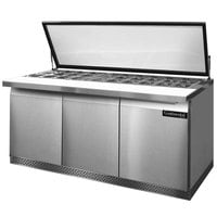 Continental Refrigerator SW72-30M-HGL-FB 72 inch Mighty Top Front Breathing Sandwich / Salad Prep Refrigerator with Hinged Glass Lid
