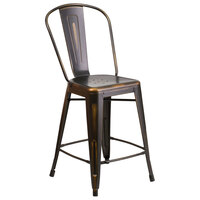 Distressed Copper Metal Counter Height Stool with Vertical Slat Back and Drain Hole Seat