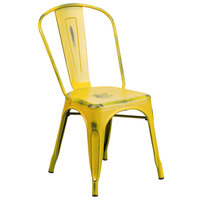 Distressed Yellow Stackable Metal Chair with Vertical Slat Back and Drain Hole Seat