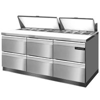 Continental Refrigerator SW72-18-FB-D 72 inch Front Breathing Sandwich / Salad Prep Refrigerator with Six Drawers