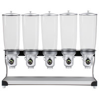 Cal-Mil 3516-5-13FF Black Free Flow 5 Cylinder Cereal Dispenser - 31 inch x 11 inch x 25 3/4 inch