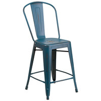 Distressed Kelly Blue Metal Counter Height Stool with Vertical Slat Back and Drain Hole Seat