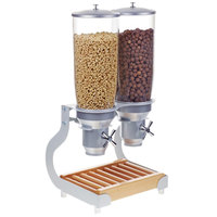 Cal-Mil 3516-2-98 Beechwood Turn and Serve 2 Cylinder Cereal Dispenser - 12 3/4 inch x 11 inch x 25 3/4 inch