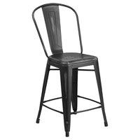 Distressed Black Metal Counter Height Stool with Vertical Slat Back and Drain Hole Seat