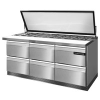 Continental Refrigerator SW72-30M-HGL-FB-D 72 inch Mighty Top Front Breathing Sandwich / Salad Prep Refrigerator with Six Drawers and Hinged Glass Lid