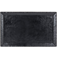 Cal-Mil 3459-2113-65M 21 inch x 13 inch Rectangular Faux Slate Platter with Raised Rim