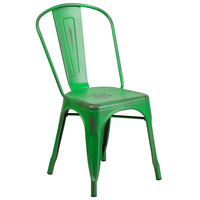 Distressed Green Stackable Metal Chair with Vertical Slat Back and Drain Hole Seat