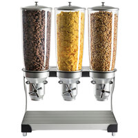 Cal-Mil 3516-3-13 Black Turn and Serve 3 Cylinder Cereal Dispenser - 19 inch x 11 inch x 25 3/4 inch