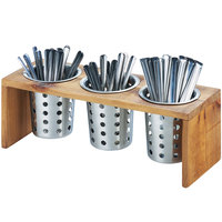 Cal-Mil 1425-3-99 Madera Reclaimed Wood 3 Compartment Flatware Organizer - 16 inch x 5 3/4 inch x 6 inch