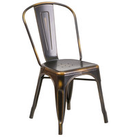 Distressed Copper Stackable Metal Chair with Vertical Slat Back and Drain Hole Seat
