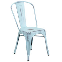 Distressed Dream Blue Stackable Metal Chair with Vertical Slat Back and Drain Hole Seat