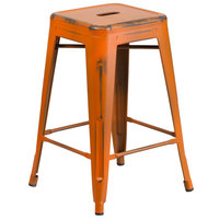 Distressed Orange Stackable Metal Counter Height Stool with Drain Hole Seat