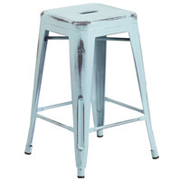 Distressed Dream Blue Stackable Metal Counter Height Stool with Drain Hole Seat
