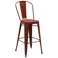 Distressed Kelly Red Metal Bar Height Stool with Vertical Slat Back and Drain Hole Seat