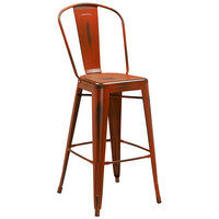 Distressed Orange Metal Bar Height Stool with Vertical Slat Back and Drain Hole Seat