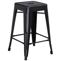 Distressed Black Stackable Metal Counter Height Stool with Drain Hole Seat
