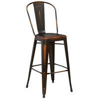 Distressed Copper Metal Bar Height Stool with Vertical Slat Back and Drain Hole Seat