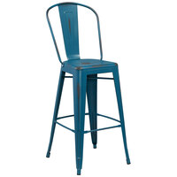 Distressed Kelly Blue Metal Bar Height Stool with Vertical Slat Back and Drain Hole Seat