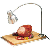 Carlisle HL8185B00 FlexiGlow 24 inch Single Arm Aluminum Heat Lamp with Maple Cutting Board and Drip Pan - 120V