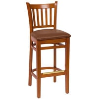 BFM Seating LWB102CHLBV Delran Cherry Wood Bar Height Chair with 2 inch Brown Vinyl Seat