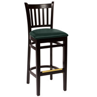 BFM Seating LWB102BLGNV Delran Black Wood Bar Height Chair with 2 inch Green Vinyl Seat