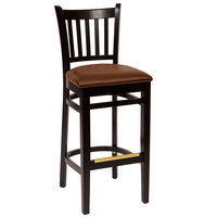 BFM Seating LWB102BLLBV Delran Black Wood Bar Height Chair with 2 inch Brown Vinyl Seat
