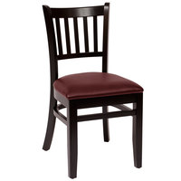 BFM Seating LWC102BLBUV Delran Black Wood Side Chair with 2 inch Burgundy Vinyl Seat
