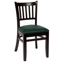 BFM Seating LWC102BLGNV Delran Black Wood Side Chair with 2 inch Green Vinyl Seat