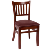 BFM Seating LWC102MHBUV Delran Mahogany Wood Side Chair with 2 inch Burgundy Vinyl Seat