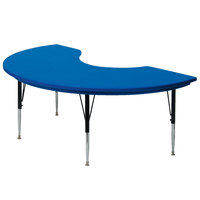 Correll AR4872 48 inch x 72 inch Blue Plastic Adjustable Height Kidney Table