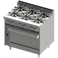 Blodgett BR-6-36 6 Burner 36 inch Gas Range with Oven Base - 210,000 BTU