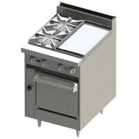 Blodgett BR-2-12GT 2 Burner 24 inch Thermostatic Gas Range with Right Side 12 inch Griddle and Cabinet Base - 84,000 BTU