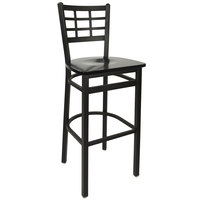 BFM Seating 2163BBLW-SB Marietta Sand Black Metal Bar Height Chair with Black Wood Seat