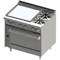 Blodgett BR-24G-2-36 2 Burner 36 inch Manual Gas Range with Left Side 24 inch Griddle and Oven Base - 138,000 BTU
