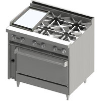Blodgett BR-12G-4-36C 4 Burner 36 inch Manual Gas Range with Left Side 12 inch Griddle and Convection Oven Base - 174,000 BTU