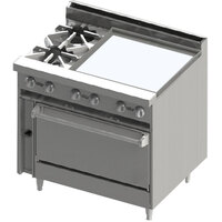 Blodgett BR-2-24G-36 2 Burner 36 inch Manual Gas Range with Right Side 24 inch Griddle and Oven Base - 138,000 BTU
