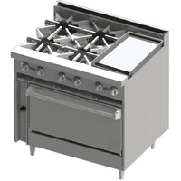 Blodgett BR-4-12G-36 4 Burner 36 inch Manual Gas Range with Right Side 12 inch Griddle and Oven Base - 174,000 BTU