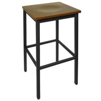 BFM Seating 2510BWAW-SB Trent Sand Black Metal Barstool with Walnut Wood Seat