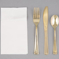 Visions Gold Heavy Weight Plastic Cutlery Set with White Pocket Fold Napkin - 50 / Case