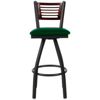 BFM Seating 2151SGNV-WASB Espy Sand Black Metal Bar Height Chair with Walnut Wooden Back and 2 inch Green Vinyl Swivel Seat