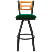 BFM Seating 2151SGNV-NTSB Espy Sand Black Metal Bar Height Chair with Natural Wooden Back and 2 inch Green Vinyl Swivel Seat