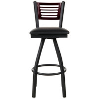 BFM Seating 2151SBLV-MHSB Espy Sand Black Metal Bar Height Chair with Mahogany Wooden Back and 2 inch Black Vinyl Swivel Seat