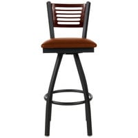 BFM Seating 2151SLBV-WASB Espy Sand Black Metal Bar Height Chair with Walnut Wooden Back and 2 inch Light Brown Vinyl Swivel Seat