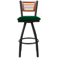 BFM Seating 2151SGNV-CHSB Espy Sand Black Metal Bar Height Chair with Cherry Wooden Back and 2 inch Green Vinyl Swivel Seat